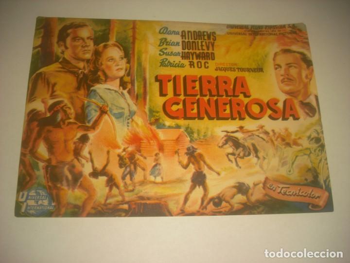 TIERRA GENEROSA, SENCILLO SIN PUBLICIDAD. (Cine - Folletos de Mano - Westerns)