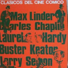 Cine: CARTEL FOLLETO CLÁSICOS CINE CÓMICO CHAPLIN ETC.1982 ALCOY CAJA AHORROS PROVINCIAL ALICANTE 28X75 CM. Lote 133857758