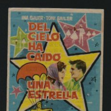 Cine: DEL CIELO HA CAIDO UNA ESTRELLA. PROGRAMA SENCILLO CON PUBLICIDAD.. Lote 133971206