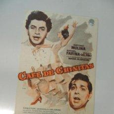 Cine: CAFE DE CHINITAS - FOLLETO MANO ORIGINAL DOBLE - ANTONIO MOLINA RAFAEL FARINA CANCIONERO MAC. Lote 134005978