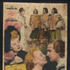 Cine: P-4733- LOS TRES MOSQUETEROS (CINE LIRICO - VALENCIA) (GENE KELLY - LANA TURNER - JUNE ALLYSON). Lote 134057986