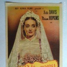 Cine: FOLLETO DE CINE, LA SOLTERONA CON BETTE DAVIS , ORIGINAL. Lote 134094306