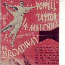 Cine: LA MELODIA DE BROADWAY - DOBLADO EN TRES PARTES. Lote 134161362