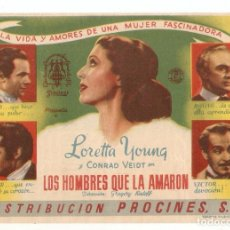 Cine: LOS HOMBRES QUE LA AMARON - LORETTA YOUNG, CONRAD VEIDT - DIRECTOR GREGORY RATOFF. Lote 134178358