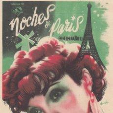 Cine: NOCHES DE PARIS. PROGRAMA SENCILLO CON PUBLICIDAD.. Lote 134270206
