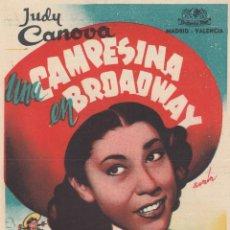 Cine: CAMPESINA EN BROADWAY. PROGRAMA SENCILLO CON PUBLICIDAD.. Lote 134270534