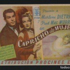 Cine: CAPRICHO DE MUJER. PROGRAMA SENCILLO CON PUBLICIDAD.. Lote 134364310
