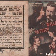 Cine: EL BESO REVELADOR / PROGRAMA DOBLE NUEVA UNIVERSAL CON PUBLICIDAD RF-1720. Lote 134481558