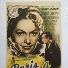 Cine: FOLLETO DE CINE, PARIS A MEDIANOCHE CON LOUIS JOUVET, ORIGINAL, SIN PUBLICIDAD. Lote 134764254