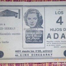 Cine: PROGRAMA, CINE ECHEGARAY DE MALAGA, INGRID BERMAN, AÑOS 40. Lote 134854434
