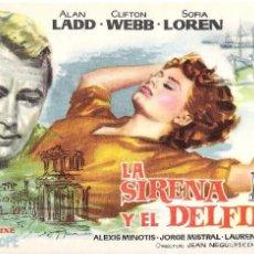 Cine: PROGRAMA DE MANO ORIGINAL (LA SIRENA Y EL DELFIN) ALAN LADD. Lote 135022378