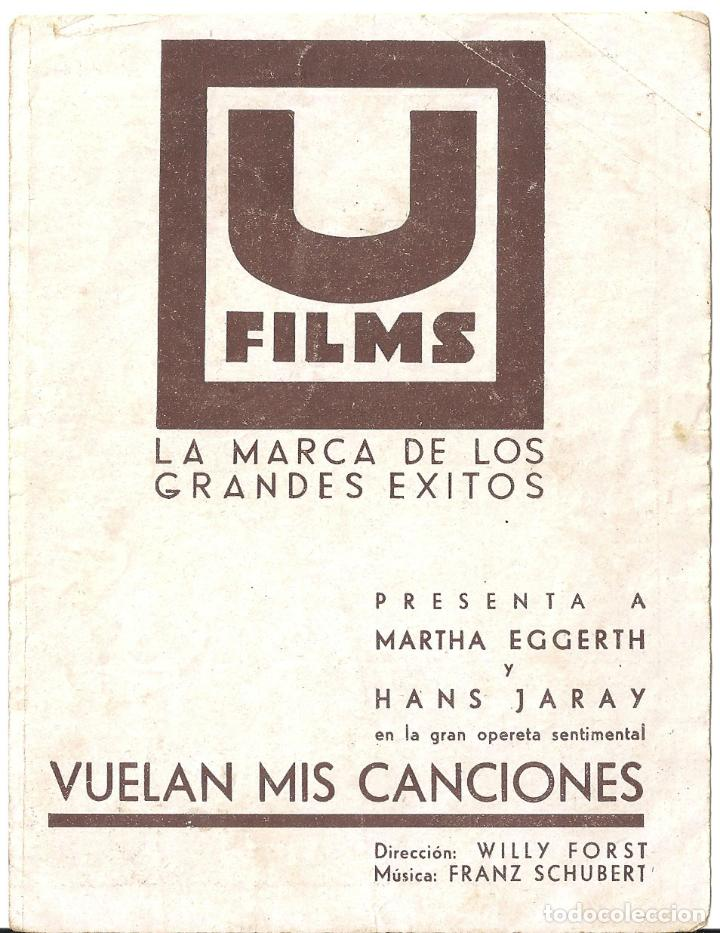 Cine: PTEB 020 VUELAN MIS CANCIONES PROGRAMA DOBLE U FILMS MARTHA EGGERTH - Foto 2 - 135023606