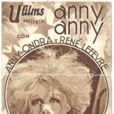 Cine: PTEB 020 ANNY ANNY PROGRAMA DOBLE U FILMS ANNY ONDRA RENE LEFEVRE. Lote 135026170
