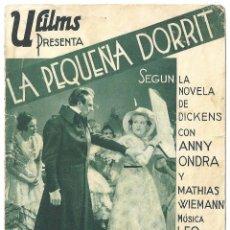 Cine: PTEB 020 LA PEQUEÑA DORRIT PROGRAMA DOBLE U FILMS ANNY ONDRA CHARLES DICKENS. Lote 135027930
