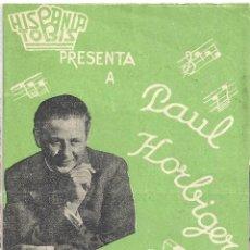 Cine: PTEB 020 LA PICARA MUSICA PROGRAMA DOBLE HISPANIA TOBIS PAUL HORBIGER. Lote 135029622