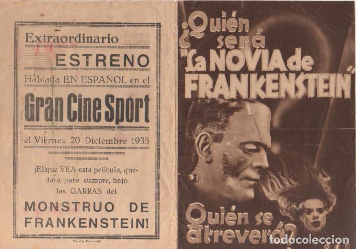 Cine: LA NOVIA DE FRANKENSTEIN. BORIS KARLOFF. PROGRAMA DOBLE 1935 - Foto 3 - 135031454