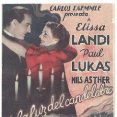 Cine: PTEB 021 A LA LUZ DEL CANDELABRO PROGRAMA DOBLE UNIVERSAL ELISSA LANDI PAUL LUKAS JAMES WHALE. Lote 135087770