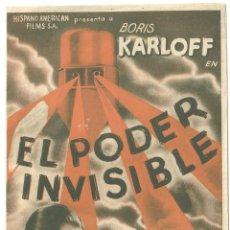 Cine: PTCC 022 EL PODER INVISIBLE PROGRAMA DOBLE ORIGINAL BORIS KARLOFF BELA LUGOSI FRANCES DRAKE. Lote 135125210