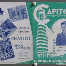 Cine: PTEB 016 TIEMPOS MODERNOS PROGRAMA DOBLE CAPITOL CHARLES CHAPLIN PAULETTE GODARD. Lote 135133126