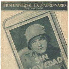 Cine: PTEB 016 SIN NOVEDAD EN EL FRENTE PROGRAMA DOBLE GRANDE UNIVERSAL LEWIS AYRES LOUIS WOLHEIM. Lote 135136378