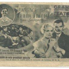 Cine: PTEB 017 EL HIJO PRODIGO PROGRAMA DOBLE MGM LAWRENCE TIBBET ESTHER RALSTON ROLAND YOUNG. Lote 135141714
