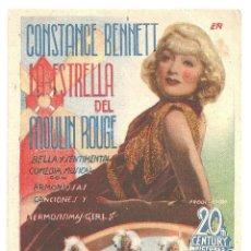 Cinema - PTEB 022 LA ESTRELLA DEL MOULIN ROUGE PROGRAMA TARJETA ARTISTAS ASOCIADOS CONSTANCE BENNETT F TONE - 135150970
