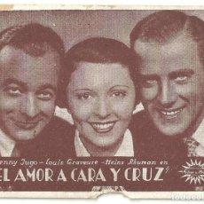 Cine: PTEB 022 EL AMOR A CARA Y CRUZ PROGRAMA TARJETA FEBRER Y BLAY JENNY JUGO HEINZ RUHMANN. Lote 135152850