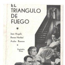 Cine: PTEB 024 EL TRIANGULO DE FUEGO PROGRAMA DOBLE EQUITABLE FILMS JEAN ANGELO RENEE HERIBEL ANDRE ROANNE. Lote 135241418