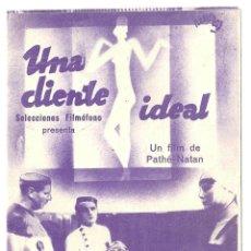 Cine: PTEB 026 UNA CLIENTE IDEAL PROGRAMA DOBLE FILMOFONO ELVIRE POPESCO RENE LEFEVRE. Lote 135316594