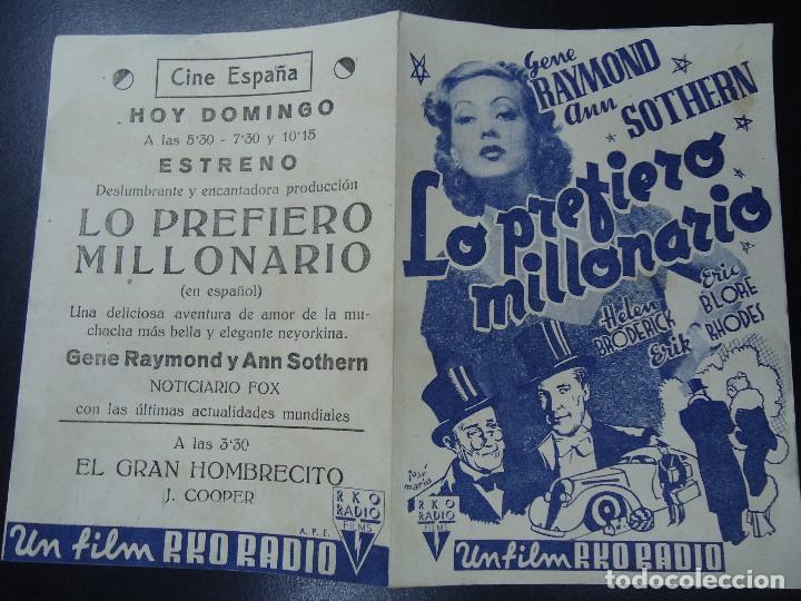 Cine: LO PREFIERO MILLONARIO. GENE RAYMOND ANN SOTHERN RKO DOBLE CON PUBLICIDAD DEL CINE ESPAÑA MUY BIEN C - Foto 3 - 135354238