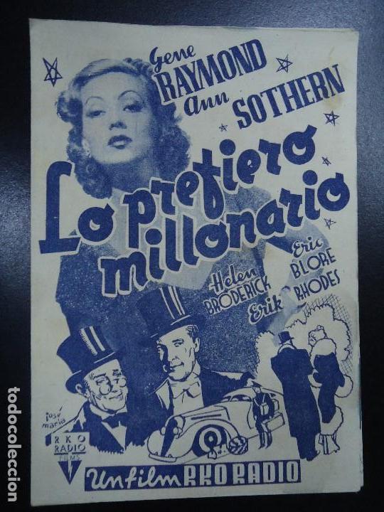 LO PREFIERO MILLONARIO. GENE RAYMOND ANN SOTHERN RKO DOBLE CON PUBLICIDAD DEL CINE ESPAÑA MUY BIEN C (Cine - Folletos de Mano - Comedia)