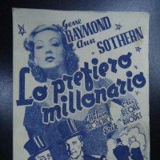 Cine: LO PREFIERO MILLONARIO. GENE RAYMOND ANN SOTHERN RKO DOBLE CON PUBLICIDAD DEL CINE ESPAÑA MUY BIEN C. Lote 135354238
