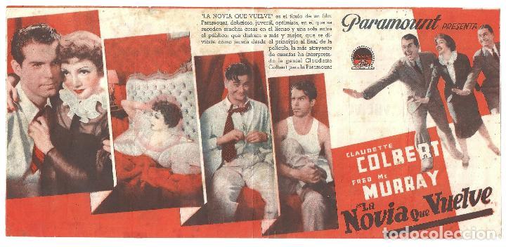 PTEB 028 LA NOVIA QUE VUELVE PROGRAMA SENCILLO PARAMOUNT CLAUDETTE COLBERT FRED MACMURRAY (Cine - Folletos de Mano - Comedia)