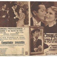 Cine: PTEB 028 EL CONQUISTADOR IRRESISTIBLE PROGRAMA DOBLE MGM ROBERT MONTGOMERY HEATHER THATCHER. Lote 135408138