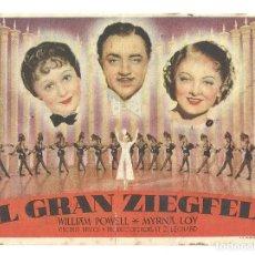 Cine: PTEB 029 EL GRAN ZIEGFELD PROGRAMA SENCILLO MGM WILLIAM POWELL MYRNA LOY LUISE RAINER. Lote 135416246