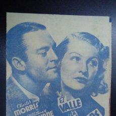 Cine: EL VALLE DE LOS ICAROS, CON CHESTER MORRIS Y WHITNEY BOURNE RKO 1940 CON PUBLICIDAD DEL CINE ESPAÑA . Lote 135451126