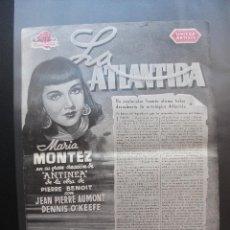 Cine: LA ATLANTIDA, MARIA MONTEZ, SOLIGÓ. Lote 135487378