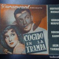Cine: COGIDO EN LA TRAMPA 1934 GERTRUDE MICHAEL. GEORGE MURPHY. ROSCOE KARNS. AKIM TAMIROFF PROGRAMA DOBLE. Lote 135521206