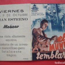 Cine: EL MUNDO TEMBLARA.-RICHARD POTTIER.-CLAUD DAUPHIN.-MADELEINE SOLGNE.-ALCAZAR.-PUBLIA.-VALENCIA.-CINE. Lote 135531006