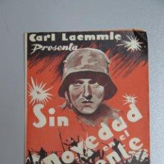 Cine: PROGRAMA DIPTICO. PELICULA SIN NOVEDAD EN EL FRENTE. CARL LAEMMLE. Lote 135719743