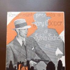 Cine: LAS CALLES DE LA CIUDAD 1931 GARY COOPER FOLLETO ORIGINAL. Lote 135724723