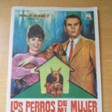 Cine: ANTIGUO FOLLETO PROGRAMA CINE - LOS PERROS DE MI MUJER - WALT DISNEY - DEAN JONE - PLESHETTE. Lote 135758870