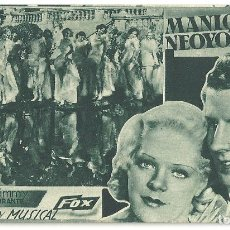 Cine: PTEB 034 MANIQUIES NEOYORKINOS PROGRAMA TARJETA FOX ALICE FAYE JIMMY DURANTE A. Lote 135776954