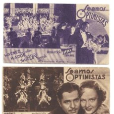 Cine: PTEB 035 SEAMOS OPTIMISTAS SET 3 PROGRAMAS TARJETA FOX SHIRLEY TEMPLE WARNER BAXTER MADGE EVANS. Lote 135782950