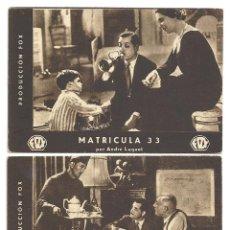 Cine: PTEB 035 MATRICULA 33 SET 3 PROGRAMAS TARJETA FOX EDWIGE FEULLIERE ANDRE LUGUET. Lote 135790742
