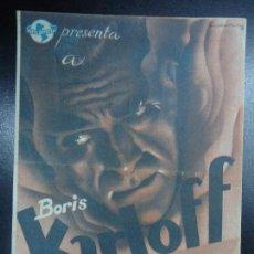 Cine: ALARMA EN LA CIUDAD 1940 BORIS KARLOFF NUEVA UNIVERSAL PUBLICIDAD GRAN TEATRO MARCA PLIEGUE HORIZON. Lote 135799074