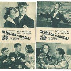 Cine: PTEB 036 UN MILLON DE GRACIAS 2 PROGRAMAS TARJETA 20TH CENTURY FOX DICK POWELL ANN DVORAK. Lote 135805702