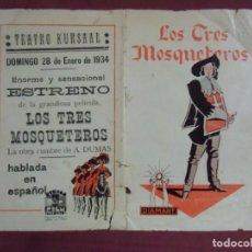 Cine: CINE.LOS TRES MOSQUETEROS.TEATRO KURSAAL DE ELCHE. 1934.RARO.. Lote 136150178