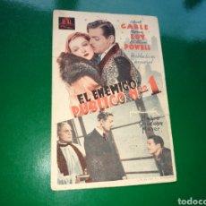 Cine: PROGRAMA DE CINE. EL ENEMIGO PÚBLICO NÚMERO 1. AÑOS 30. Lote 136176270