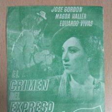 Cine: EL CRIMEN DEL EXPRESO - PROGRAMA DE CINE DOBLE CON PUBLICIDAD. Lote 136185626